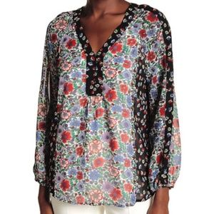 Nanette Lepore floral v neck long sleeve blouse 1X